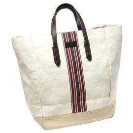 Gucci-Sac cabas en toile blanche Gucci-Blanc,Multicolore