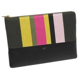 Céline-Celine Black Canvas Clutch Bag-Black,Multiple colors