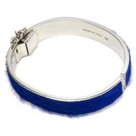 Céline-Celine Blue Pony Hair Bangle-Silvery,Blue