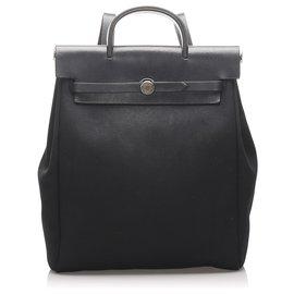 Hermès-Hermes Black Herbag Backpack-Black