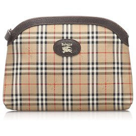 Burberry-Burberry Brown Haymarket Check Canvas Pouch-Brown,Multiple colors,Beige