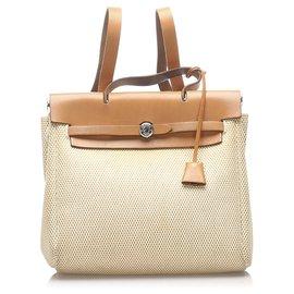 Hermès-Hermes Brown Herbag Canvas Backpack-Brown,Beige