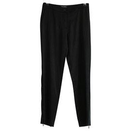 Chanel-AW03 Silk Zip Hem Pants-Black