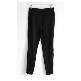 Chanel-AW03 Pantalon en soie à ourlet zippé-Noir