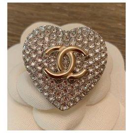 Chanel-Chanel Silver/Light Gold Strass Heart Shape CC Logo Pin-Silvery