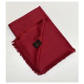 Louis Vuitton-louis vuitton Châle Monogram rouge pomme d'amour-Bordeaux