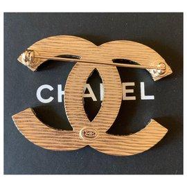 Chanel-Large La Pausa CC Logo Blue Strips Metal Brooch Pin-Blue