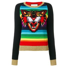 Gucci-1,5Pull $ K Angry Cat-Multicolore
