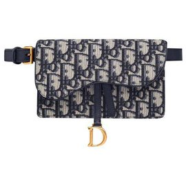 Dior-Pochette ceinture selle bleu Dior Oblique Jacquard-Bleu