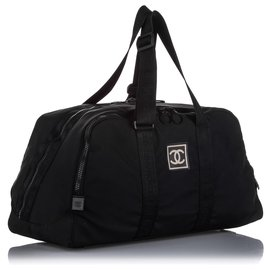 Chanel-Chanel Black CC Sports Line Nylon Travel Bag-Black