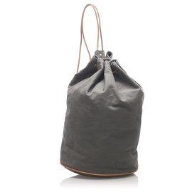 Hermès-Hermes Gray Canvas Polochon Mimile-Brown,Other,Grey,Light brown