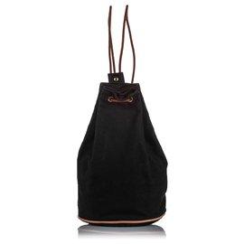 Hermès-Hermes Black Canvas Polochon Mimile-Black