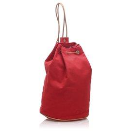 Hermès-Hermes Red Canvas Polochon Mimile-Brown,Red,Light brown