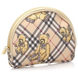 Burberry-Burberry Brown Nova Check Bears Canvas Pouch-Brown,Multiple colors,Beige