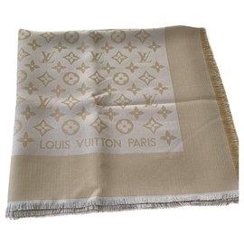 Louis Vuitton-Écharpe brillante monogramme-Beige
