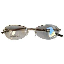Yves Saint Laurent-Silver metal slim vintage frames-Silver hardware