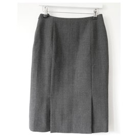 Christian Dior-AW19 Grey Wool Pencil Skirt-Grey