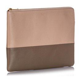 Céline-Celine Pink Bicolor Leather Clutch Bag-Pink,Other,Grey