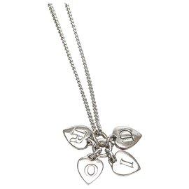 Dior-Collier Dior en argent avec logo cœur-Argenté