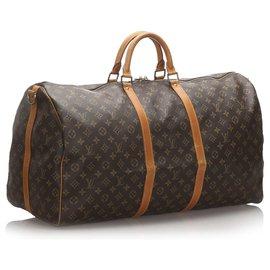 Louis Vuitton-Louis Vuitton Brown Monogram Keepall Bandouliere 60-Brown