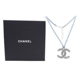 Chanel-Chanel Blue Silver CC Crystal Chain Rope Necklace-Multiple colors