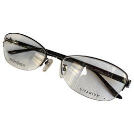 Yves Saint Laurent-Titanium metal YSL frames-Dark brown