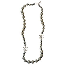 Chanel-CHANEL - CC PEARL NECKLACE NECKLACE NEW SILVER METAL 2016-Multiple colors