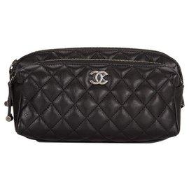 Chanel-CHANEL Waist Bag Belt Bum Fanny Pack WALLET BLACK calf leather Ruthenium TRAVEL-Black
