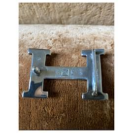 Hermès-Hermes 'H' belt Touareg silver buckle-Black