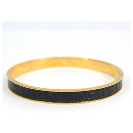 Hermès-Bracelet jonc Kelly GP cuir Bracelet femme or x noir-Autre