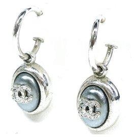 Chanel-CHANEL coco mark hoop Swing metal Boucles d'oreilles Femme Argent-Autre