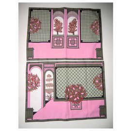 Hermès-Rare Set de table Hermès-Rose
