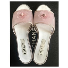 Chanel-Pink camellia mules-Pink