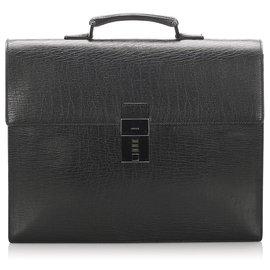 Gucci-Porte-documents en cuir noir Gucci-Noir