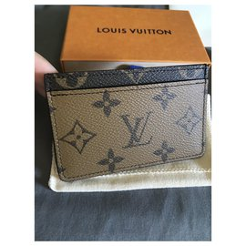 Louis Vuitton-Card holder Monogram Reverse-Light brown,Dark brown