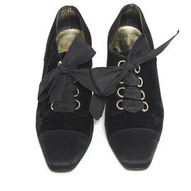 Chanel-HAUTE COUTURE BLACK VELVET FR36.5-Black