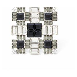Chanel-black white crystals xl cc-Silvery
