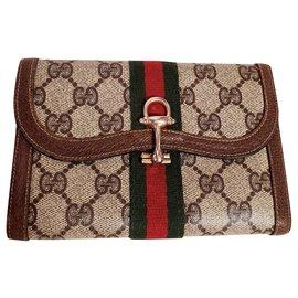 Gucci-Vintage Gucci wallet-Brown,Red,Beige,Green