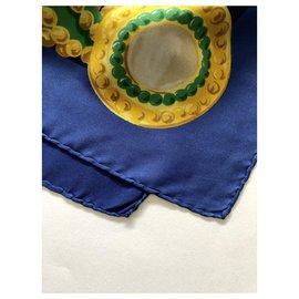 Céline-Vintage Celine silk scarf-Blue