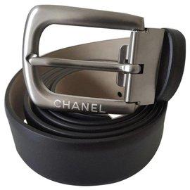 Chanel-Chanel Men's Belt In Black calf leather / Size 95 / New Never worn-Black