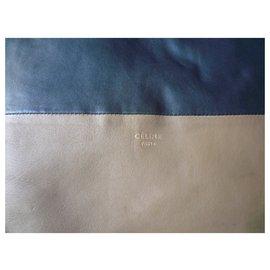 Céline-CELINE Two-tone leather shoulder bag Condition of use-Black,Beige