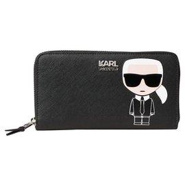 Karl Lagerfeld-KARL LAGERFELD Compagnon IKONIK new wallet-Black