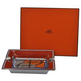 """Hermès-""""Vide Poche"""" Hermès Paris lined horses-Orange"""