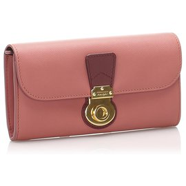 Burberry-Burberry Pink DK88 Leather Long Wallet-Pink