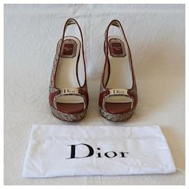 Christian Dior-Wedge mules-Brown,Beige