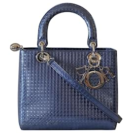 Christian Dior-Handbags-Blue,Metallic