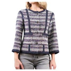 Chanel-5K$ tweed jacket with denim trim-Blue