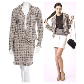 Chanel-tweed skirt suit-Beige