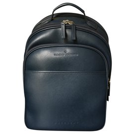Montblanc-Montblanc leather backpack-Navy blue