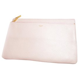 Céline-Celine Pink Duo Cosmetic Leather Pouch-Pink,Other